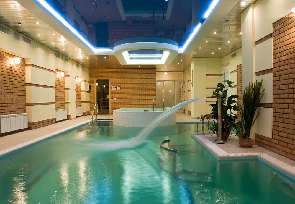 Luxury beautiful swimming pool with blue water