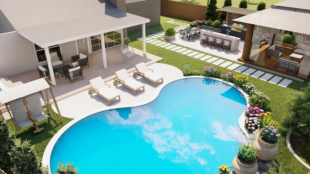 Backyard Design With Freeform Pool, Kitchen, Gazebo